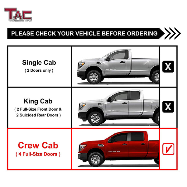"TAC Gloss Black 3"" Side Steps For 2017-2020 Nissan Titan Crew Cab/ 2016-2020 Nissan Titan XD Crew Cab Truck 