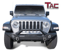 TAC Heavy Texture Black Front Bumper for 2018-2021 Jeep Wrangler JL / 2020-2021 Jeep Gladiator / 2007-2018 Jeep Wrangler JK SUV with Towing D-Ring Front Bumper Brush Grille Guard Nudge Bar