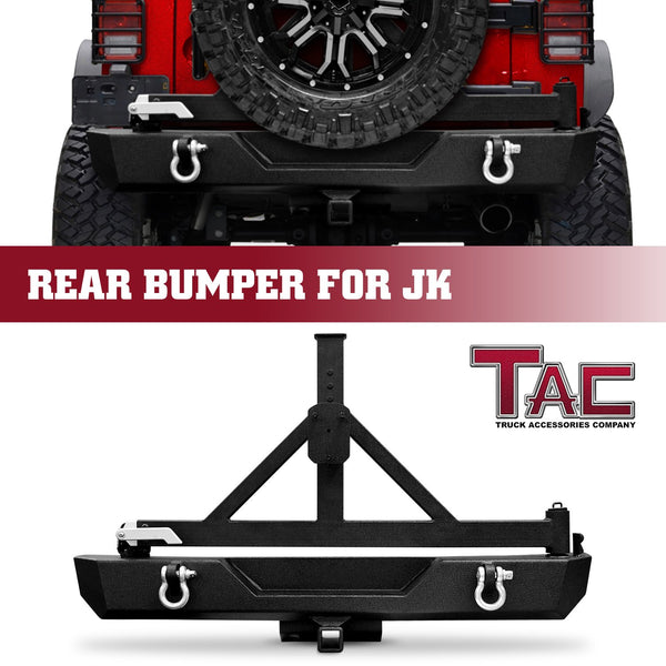 "TAC Heavy Texture Black Rear Bumper and Swing Tire Carrier for 2007-2018 Jeep Wrangler JK (Exclude 18 JL Models)(2"" Hitch Receiver and 4.75 Ton D-Rings Included) Front Bumper Brush Grille Guard Nudge Bar"