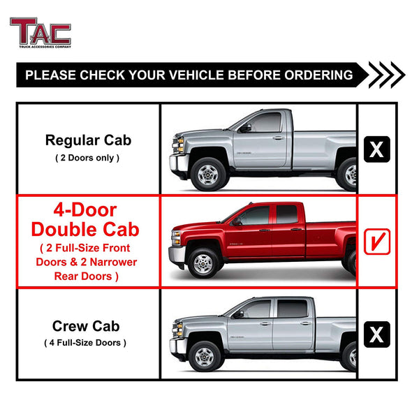"TAC Stainless Steel 3"" Side Steps For Chevy Silverado/GMC Sierra 1999-2019 1500 Models & 1999-2019 2500/3500 Models Extended/Double Cab (Excl. C/K Classic) Truck (Body Mount) 