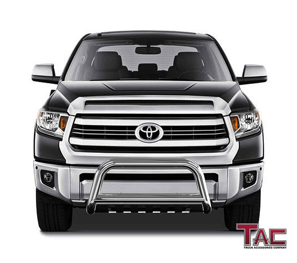 "TAC Stainless Steel 3"" Bull Bar For 2007-2020 Toyota Tundra Truck / 2008-2020 Toyota Sequoia SUV Front Bumper Brush Grille Guard Nudge Bar"