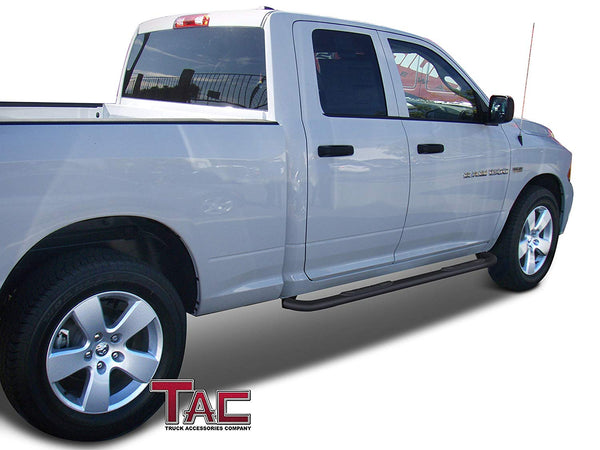 "TAC Gloss Black 3"" Side Steps For 2009-2018 Dodge Ram 1500 Quad Cab Truck (Incl. 2019-2021 Ram 1500 Classic) 