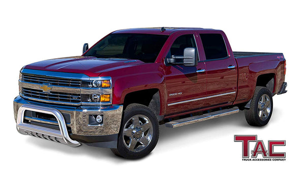 "TAC Stainless Steel 3"" Bull Bar For 2011-2019 Chevy Silverado/GMC Sierra 2500 3500 Truck Front Bumper Brush Grille Guard Nudge Bar"