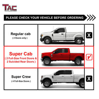 TAC Fine Texture Black I4 Running Boards For 2015-2021 Ford F150 Super Cab / 2017-2021 Ford F250/F350/F450/F550 Super Duty Super Cab Truck | Side Steps | Nerf Bars | Side Bars