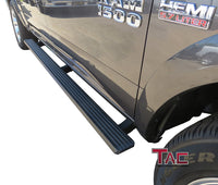 TAC Fine Texture Black I4 Running Boards For 2009-2018 Dodge Ram 1500 Crew Cab (Incl. 19-20 Ram 1500 Classic) / 2010-2020 Ram 2500/3500/4500/5500 Crew Cab (Excl. Chassis Cab Diesel Models) Truck | Side Steps | Nerf Bars | Side Bars