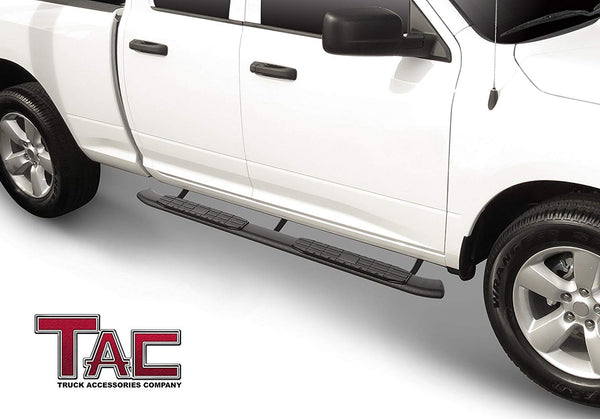 TAC Heavy Texture Black PNC Side Steps For 2009-2018 Dodge Ram 1500 Quad Cab (Incl. 2019-2021 Ram 1500 Classic) Truck | Running Boards | Nerf Bars | Side Bars