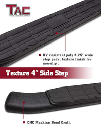 TAC Heavy Texture Black PNC Side Steps For 2007-2021 Toyota Tundra Double Cab Truck | Running Boards | Nerf Bars | Side Bars