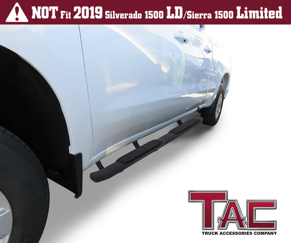 TAC Heavy Texture Black PNC Side Steps For 2019-2021 Chevy Silverado/GMC Sierra 1500 | 2020-2021 Chevy Silverado/GMC Sierra 2500/3500 Double Cab | Running Boards | Nerf Bars | Side Bars