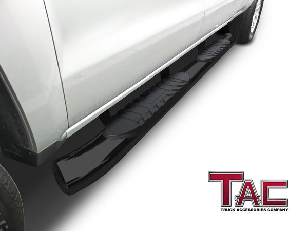 "TAC Gloss Black 5"" Oval Bend Side Steps For 2005-2021 Toyota Tacoma Double Cab 