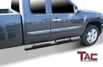 "TAC Gloss Black 5"" Oval Straight Side Steps For Chevy Silverado/GMC Sierra 2007-2018 1500 & 2007-2019 2500/3500 Extended/Double cab 