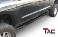 "TAC Gloss Black 5"" Oval Bend Side Steps For 2007-2021 Toyota Tundra Double Cab 