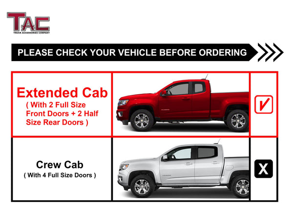 "TAC Gloss Black 4"" Side Steps for 2015-2021 Chevy Colorado / GMC Canyon Extended Cab Truck 