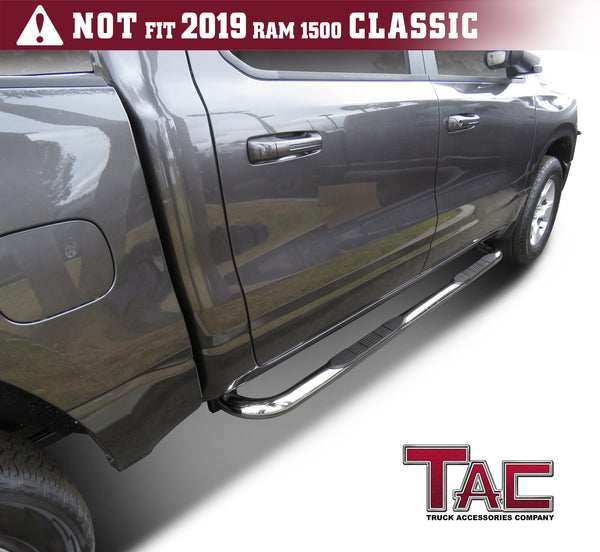 "TAC Stainless Steel 3"" Side Steps For 2019-2021 Dodge Ram 1500 Crew Cab (Excl. 2019-2021 RAM 1500 Classic) Truck 