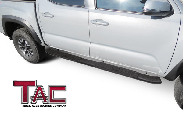 TAC Heavy Texture Black PNC Side Steps For 2005-2021 Toyota Tacoma Double Cab Truck | Running Boards | Nerf Bar | Side Bar