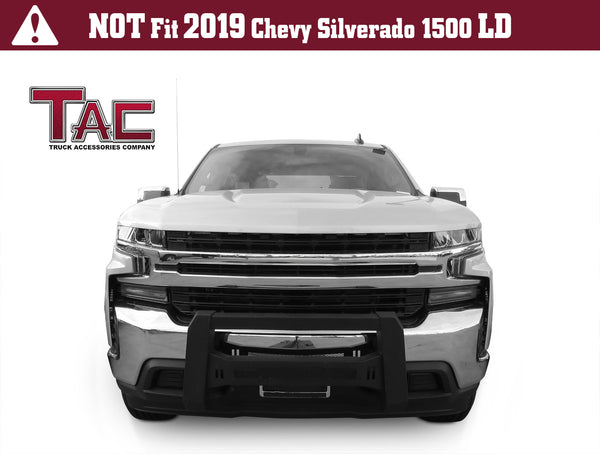 TAC Predator Modular Bull Bar Mesh Version For 2019-2020 Chevy Silverado 1500 (Excl. 2019 Silverado 1500 LD Model and Diesel Engine with Tow Hooks Models) Truck Front Bumper Brush Grille Guard Nudge Bar