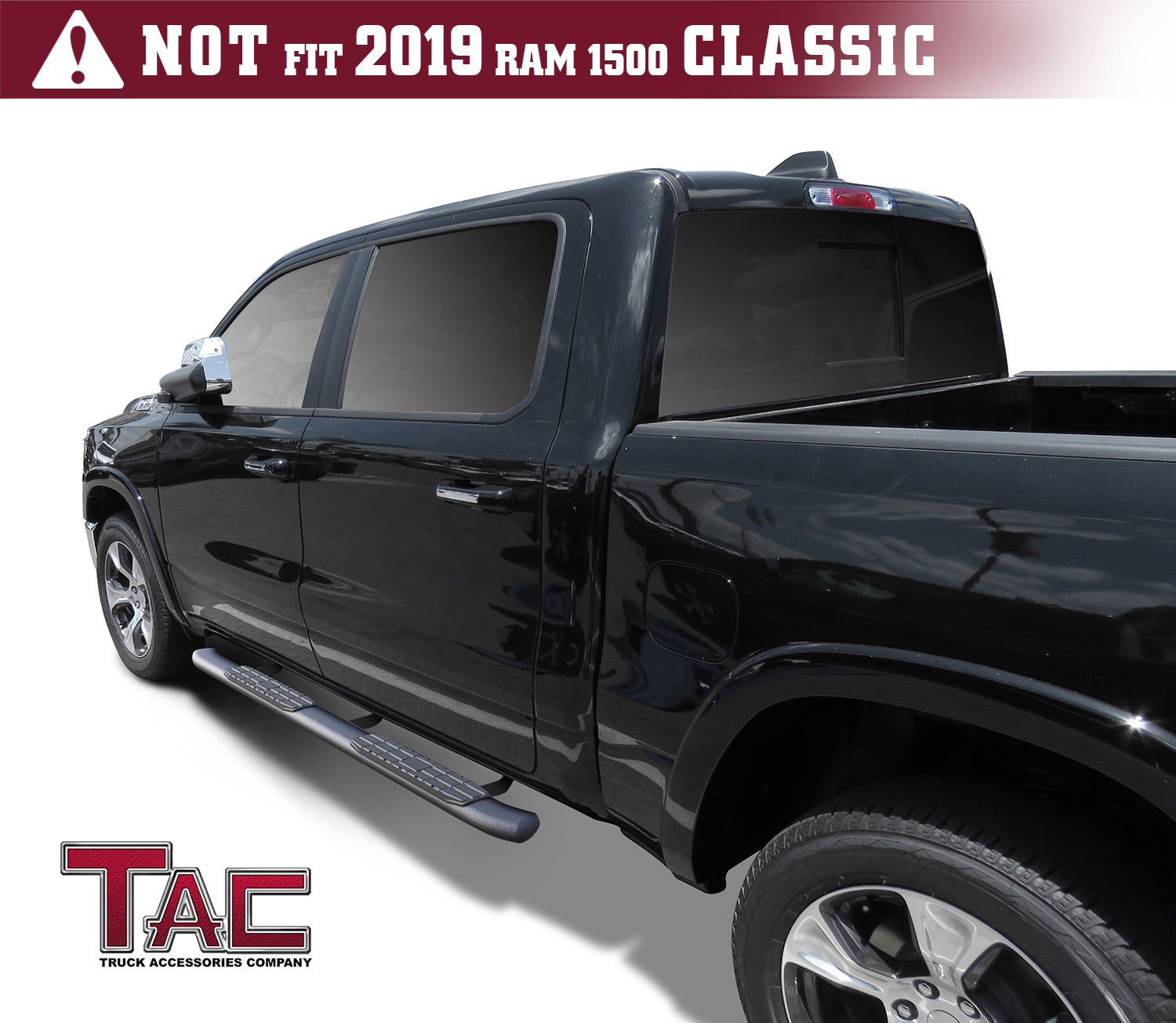 TAC Side Steps Running Boards Fit 2019 Dodge Ram 1500 Crew Cab 2 PCS Excl.2019 Ram 1500 Classic Truck Pickup 3 Stainless Steel Side Bars Nerf Bars Step Rails Off Road Accessories