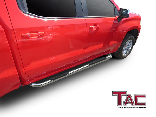 "TAC Stainless Steel 3"" Side Steps For 2019-2020 Chevy Silverado/GMC Sierra 1500 Crew Cab 