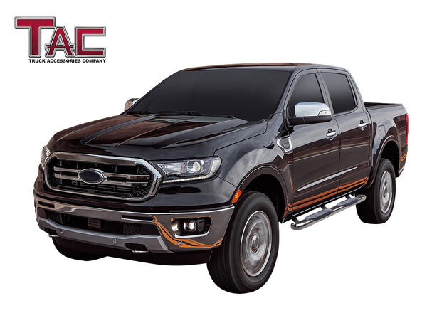 "TAC Stainless Steel 5"" Oval Bend Side Steps Running Boards for 2019-2021 Ford Ranger SuperCrew Cab Truck Pickup Side Bars Step Rails Nerf Bars (2 pcs)"