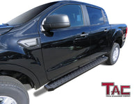 TAC Fine Texture Black Rattler Running Board for 2019-2021 Ford Ranger SuperCrew Cab Truck | Side Steps | Nerf Bars | Side Bars