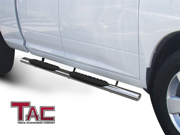 "TAC Stainless Steel 5"" Oval Straight Side Steps For 2019-2021 Dodge Ram 1500 Quad Cab (Excl. 19-20 RAM 1500 Classic) 