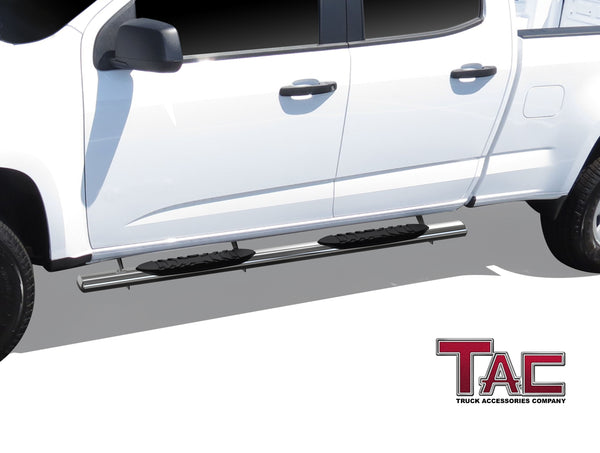 "TAC Stainless Steel 5"" Oval Straight Side Steps For 2015-2021 Chevy Colorado/GMC Canyon Crew Cab 