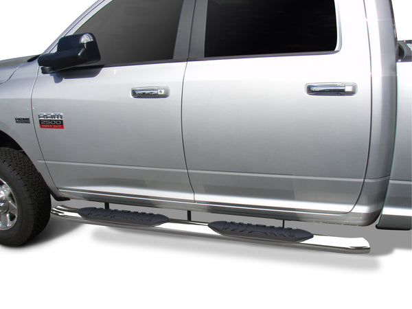 "TAC Stainless Steel 5"" Oval Bend Side Steps For 2009-2018 Dodge Ram 1500 Crew Cab (Incl. 2019-2021 Ram 1500 Classic) / 2010-2021 Dodge 2500/3500/4500/5500 (Incl. Chassis Cab Diesel models) Crew Cab 