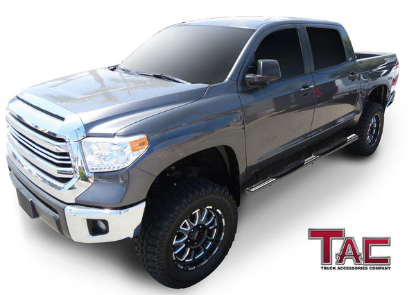 "TAC Stainless Steel 5"" Oval Straight Side Steps For 2007-2021 Toyota Tundra Crew Max Cab 