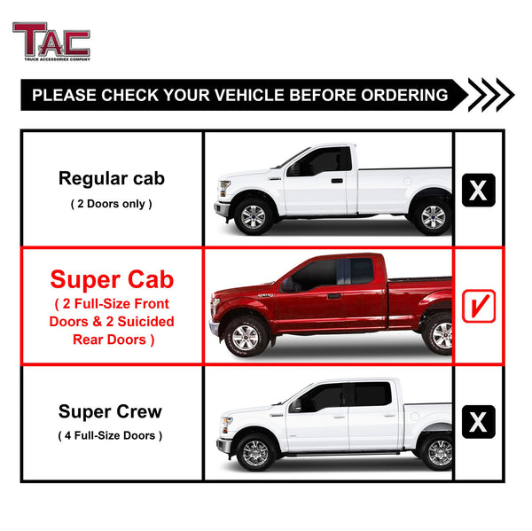 "TAC Gloss Black 4"" Side Steps for 2015-2020 Ford F150 Super Cab / 2017-2020 F250/350/450/550 Super Duty Super Cab Truck 