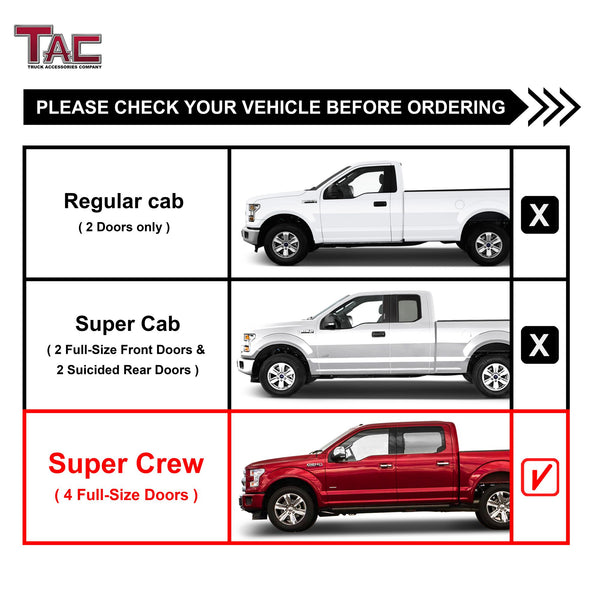 "TAC Stainless Steel 5"" Oval Straight Side Steps For 2015-2021 Ford F150 Supercrew Cab / 2017-2021 Ford F250/F350/F450/F550 Super Duty Crew Cab 