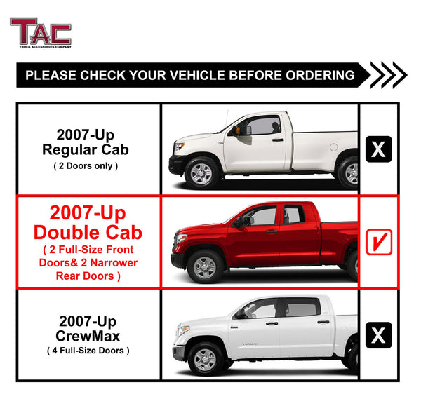 "TAC Stainless Steel 5"" Oval Straight Side Steps For 2007-2021 Toyota Tundra Double Cab 