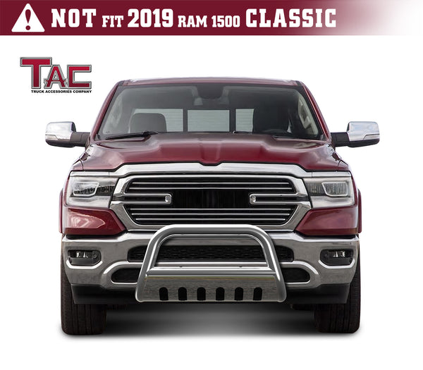 "TAC Stainless Steel 3"" Bull Bar For 2019-2020 Dodge Ram 1500 (Excl. Rebel Trim, 19-20 RAM 1500 Classic and 2020 Ram 1500 Diesel Models) Truck Front Bumper Brush Grille Guard Nudge Bar"