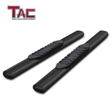 "TAC Gloss Black 5"" Oval Straight Side Steps For 1999-2014 Chevy Silverado/GMC Sierra Regular Cab 