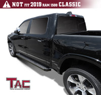 TAC Fine Texture Black Rattler Running Board for 2019-2021 Dodge RAM 1500 Crew Cab (Excl. 2019-2021 Ram 1500 Classic) Truck | Side Steps | Nerf Bars | Side Bars