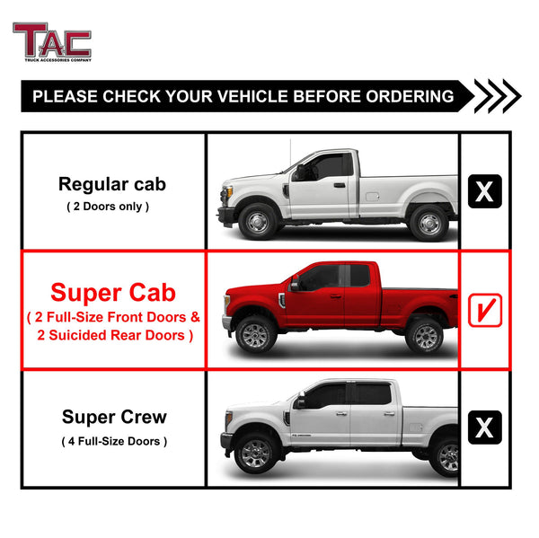 "TAC Gloss Black 5"" Oval Straight Side Steps For 1999-2016 Ford F250/350/450/550 Super Duty Super Cab 