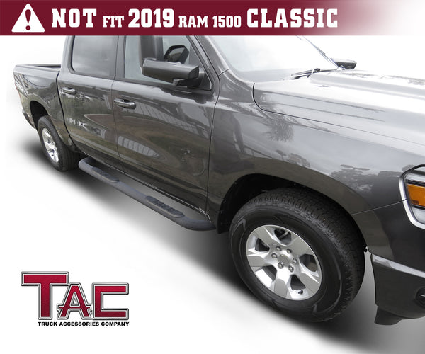 "TAC Heavy Texture Black 3"" Side Steps For 2019-2020 Dodge Ram 1500 Crew Cab (Excl. 19-20 RAM 1500 Classic) Truck 