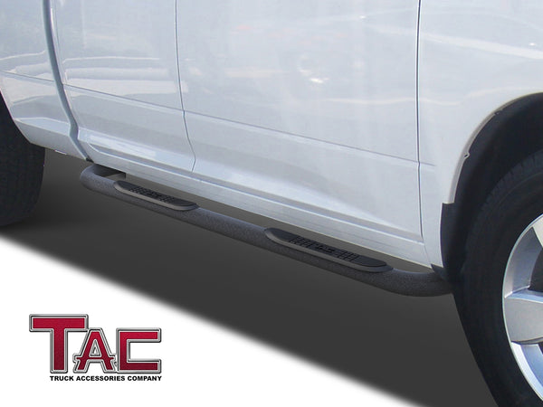 "TAC Heavy Texture Black 3"" Side Steps For 2009-2018 Dodge Ram 1500 Quad Cab (Incl. 19-20 Ram 1500 Classic) Truck 