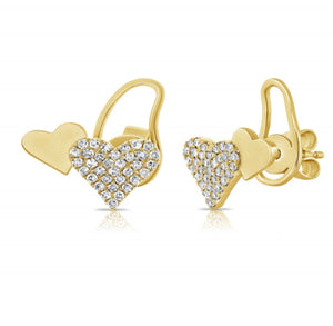 14K Diamond Double Heart Earrings