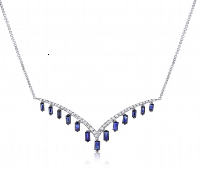 14K Diamond And Sapphire Chevron Drop Necklace