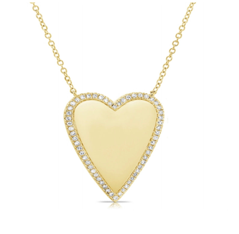 14K Diamond Border Polished Heart