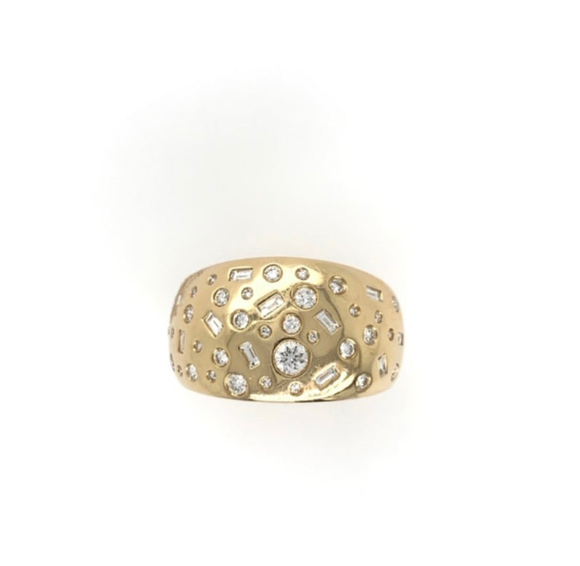 14K  Diamond Dome Wide Band Ring