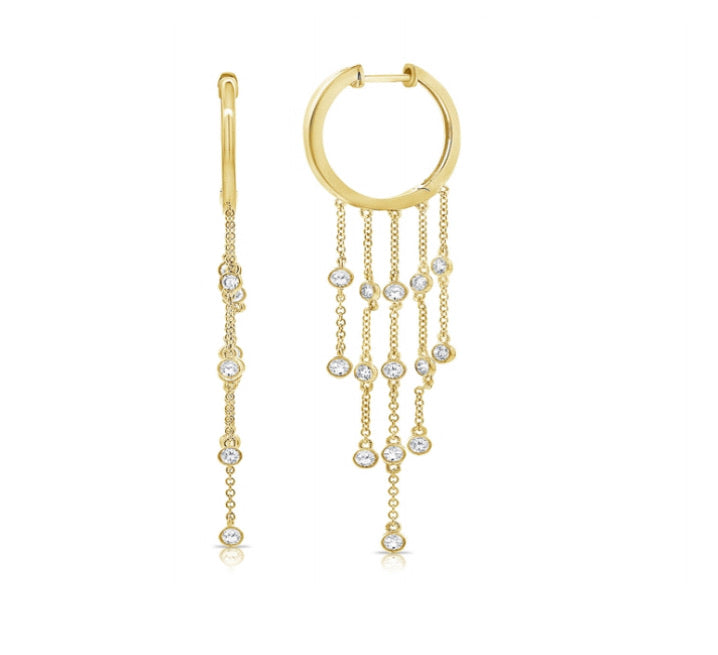 14K Diamond Chain Hoops