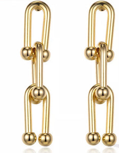 Triple Drop Gold Link Earring
