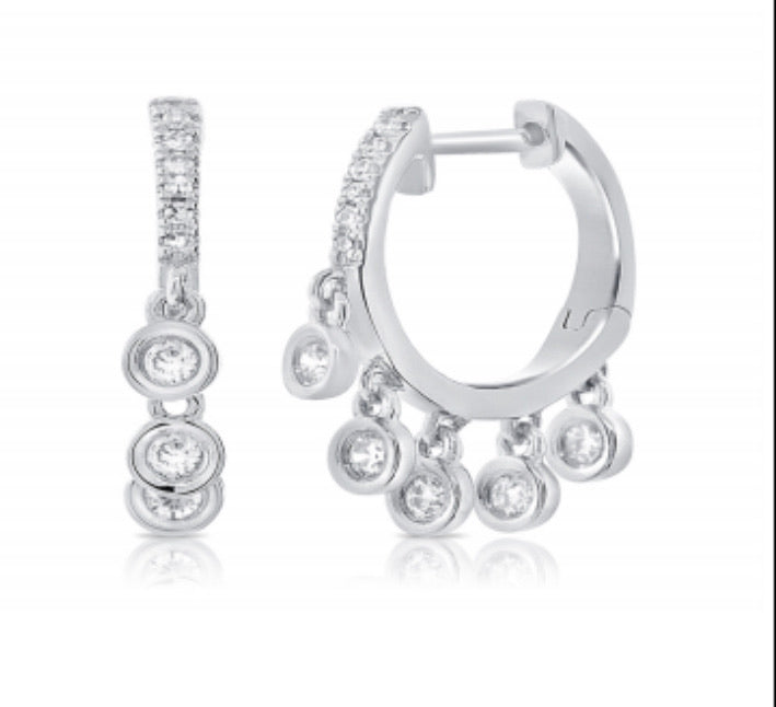 14K Diamond Bezel Drop Earrings