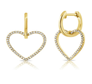 14K Diamond Heart Huggies