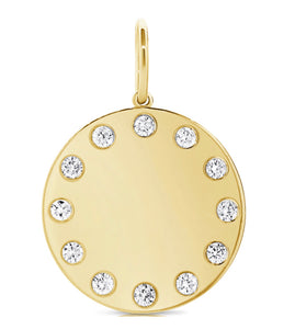 14K Yellow Gold Disc Pendant with Diamonds