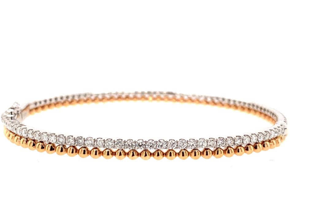 18K Double Diamond Beaded Bangle