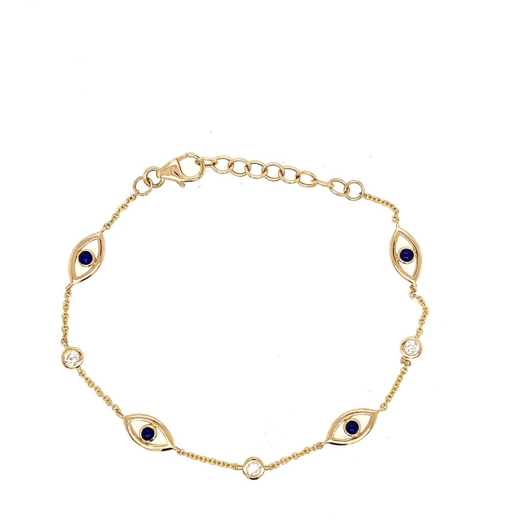 14K Lapis and Diamond Evil Eye Bracelet