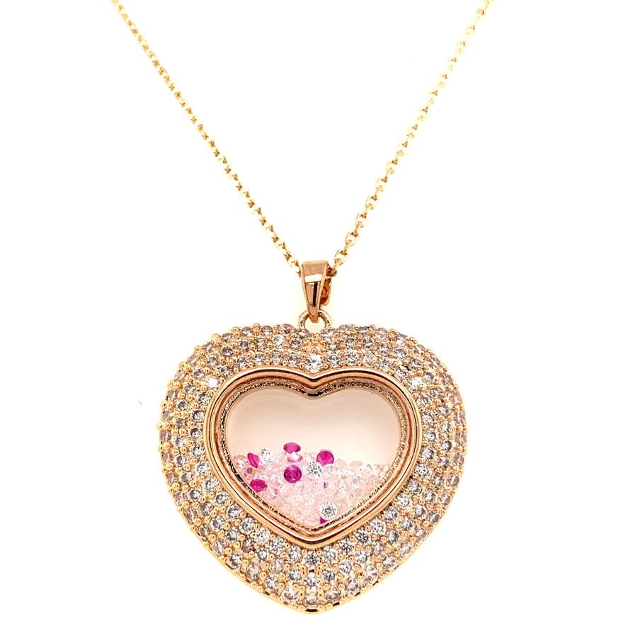 YG Plated Pave Heart Shaker Necklace