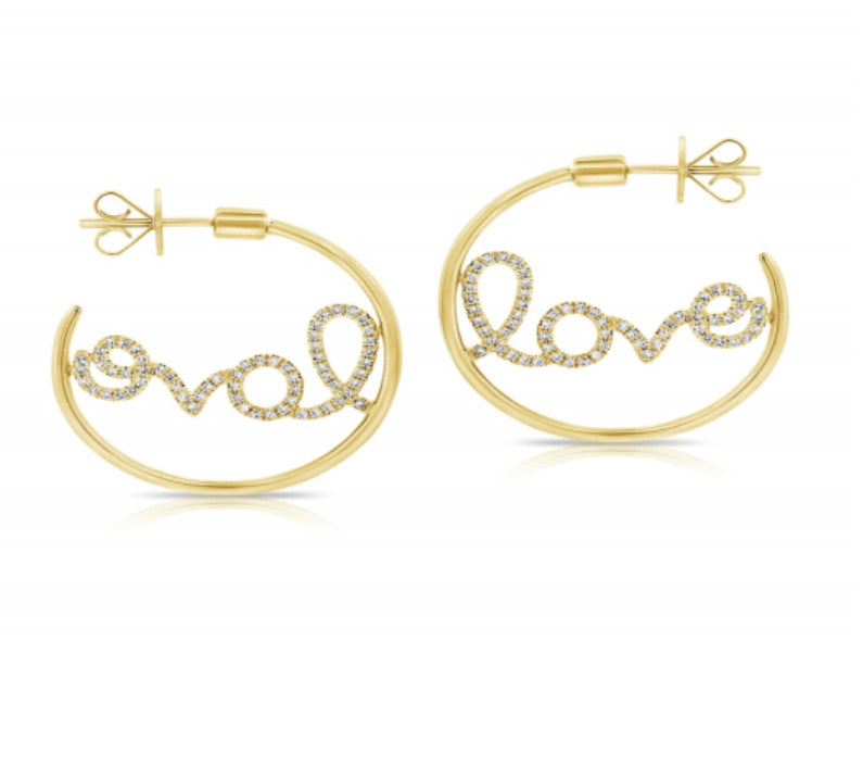 14K Diamond Love Hoops