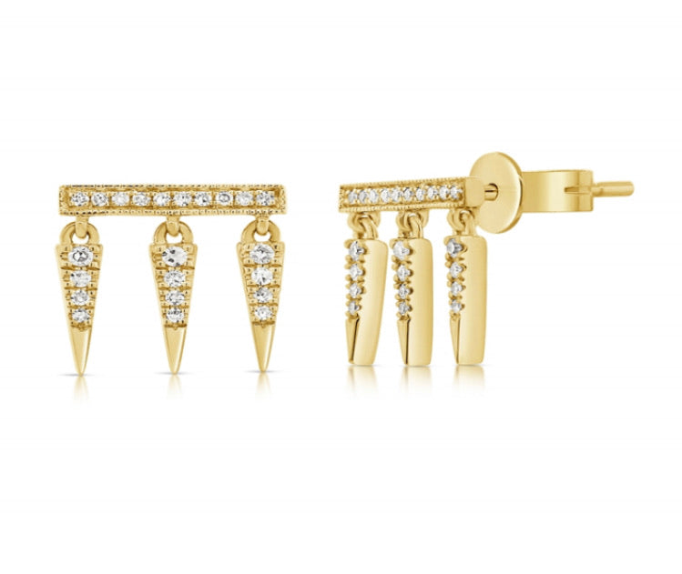 14K Diamond Dagger Studs